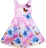 HX95 Girls Dress Rose Flower Print Butterfly Embroidery Purple Age 8 Years