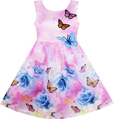 Mädchen Kleid Rose Blume Drucken Schmetterling Stickerei Lila Gr.134 (Mädchen Kleid Lila)