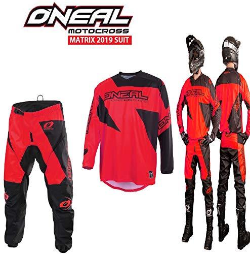 Nuovi Tuta Motocross Oneal Matrix 2019 Adulti Tuta Moto Sport MX Jersey e Pantaloni Combinazione, off Road 2 Pezzi Quad ATV Kart Dirt Bike Racing Suit (Rosso,M/32)