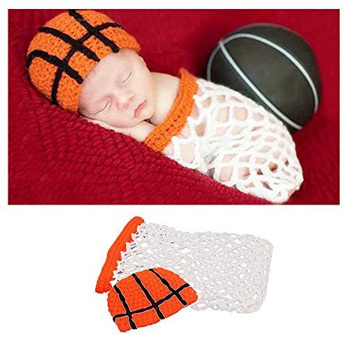 NROCF Baby Fotografie Prop, Basketball Outfits Stirnband Strampler, Kostüm häkeln Foto Requisiten, 2St (Basketball Kostüm Für Jungen)