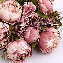 Plantas Flores de Peonía Hoja Ramo de Novia Artificial Seda Decoración Boda Casa Color Rosa Oscura