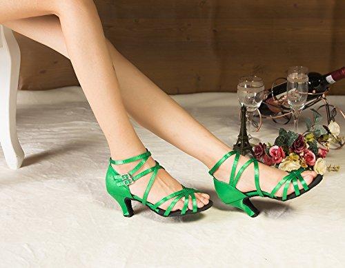 Minitoo pour cheville Medium pour talons Chaussures de danse Satin green