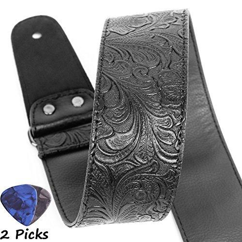 Gitarrengurt, gedrucktes Leder Gitarrengurt PU-Leder Western Vintage 60er Retro-Gitarrengurt mit echtem Leder endet für E-Bass, breite Einstellbereich, mit Krawatte, enthalten 2 Picks, schwarz (Leder Rock Ausgestattet)