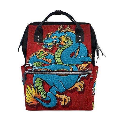 Bennigiry giapponese Dragon pannolino borsa zaino grande capacità viaggio...
