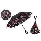 Ynebwcie Faltender rückseitiger Regenschirm-Doppelschicht-Winddichte Regenauto-Regenschirme für Frauen Red Floral