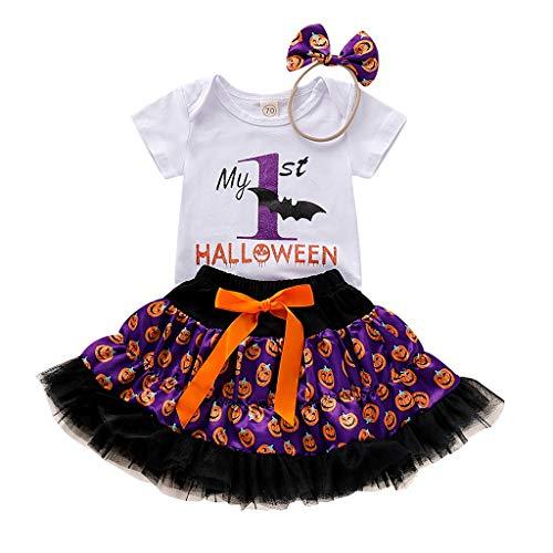 BaZhaHei Halloween Kostüm Kinder Kinder Baby Mädchen Halloween Brief Strampler Kürbis Print Röcke Haarband Outfits Festival Cosplay Halloween Outfits Set (Gruseliges Kostüm Nachthemd)