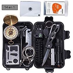 Kit de Survie d'Urgence, Multi Outil 19 en 1, Professionnel de Secours Avec Trousse Premiers Secours,Couteau de Survie,Lampe de Poche, Allume Feu,Boussole,camping,Paracorde pour randonnée etc