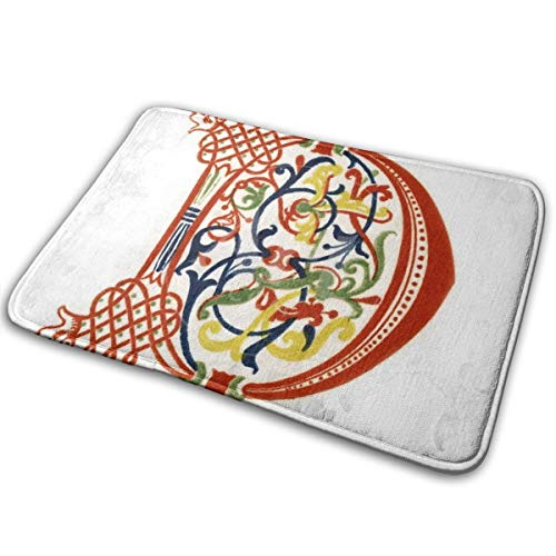 Rexing Initial Letter D Late 12th CenturyBy Henry Shaw Door Mat Great Comfortable Suitable Bathroom Rug Shower Mat 23.6x15.7inch/60x40cm -