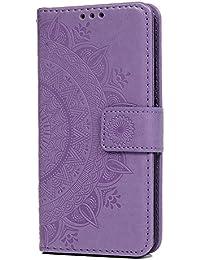 Huawei P20 Lite Funda, Premium PU Cuero Flip Cuaderno Cartera Cartera Estuche Empotrado Tótem con Soporte Magnético Tarjeta Ranura ID Folio Suave TPU Interior Funda Protectora Skin Case Cover para Huawei P20 Lite, Light Purple