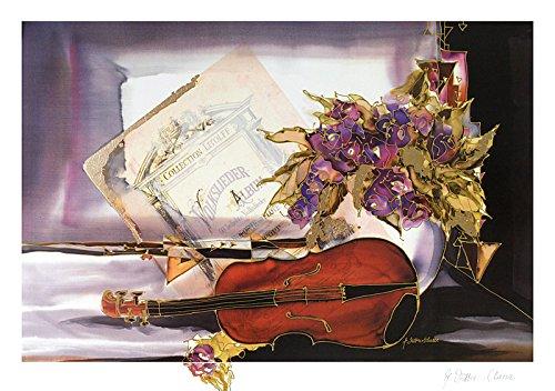 Germanposters Jutta Ritter-Scherer Poster Bild Kunstdruck Stilleben mit Geige und Blumen 45x64cm