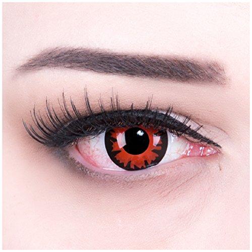 Farbige rote crazy fun Kontaktlinsen mit Stärke -5,00 crazy contact lenses Dämon Demon 1 Paar zu Karneval, Halloween, Fasching und Kostüm mit gratis Kontaktlinsenbehälter. TOPQUALITÄT! (Einfach Gratis Kostüm)