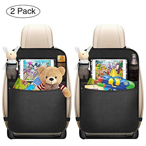 mixigoo Auto Rückenlehnenschutz, 2 Stück Auto Rücksitz-Organizer für Kinder, Multifunktionen Rückenlehnen-Tasche mit Große Taschen und Durchsichtigem iPad-Tablet-Fach, Kick-Matten-Schutz für Autositz
