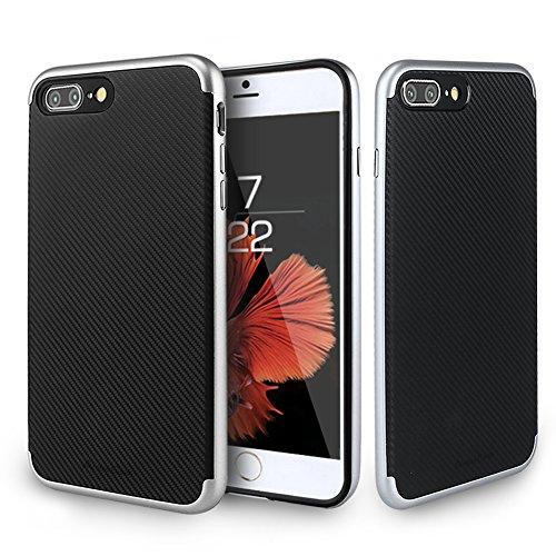 Custodia Iphone 7Plus, ambercase [shock-absorción] Premium Iphone 7Plus custodia cover case flessibile TPU Slim Silicone Case Cover Per Apple iPhone 7Plus argento