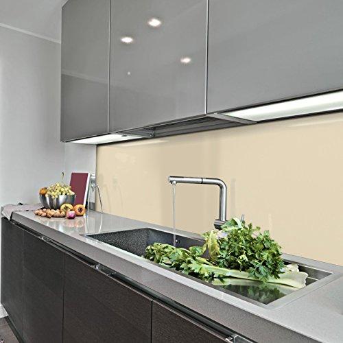 KERABAD Küchenrückwand Küchenspiegel Wandverkleidung Fliesenverkleidung Fliesenspiegel aus Aluverbund Küche Elfenbein Glanz/matt 60x100cm