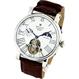 [Fortuna] Mechanical watch Automatic/Hand wind Sun and Moon indicator with Italian Leather Strap Watch for Men