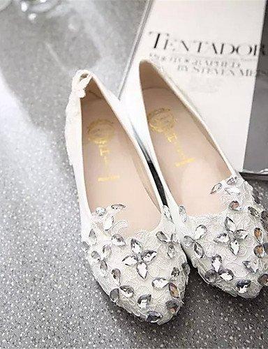 XAH@ Chaussures Femme-Extérieure / Bureau & Travail / Habillé / Décontracté-Rouge / Blanc-Talon Plat-Ballerine-Plates-PU red-us6 / eu36 / uk4 / cn36