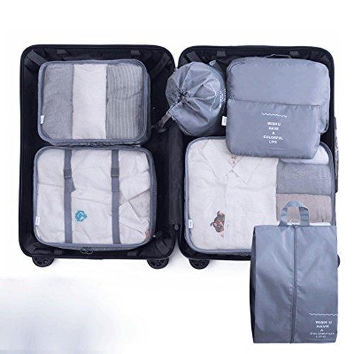 Verpackung Cube Travel Set Große Cube Storage Bag Wäscheservice Schuhe und Kosmetiktasche (Color : Light Gray)