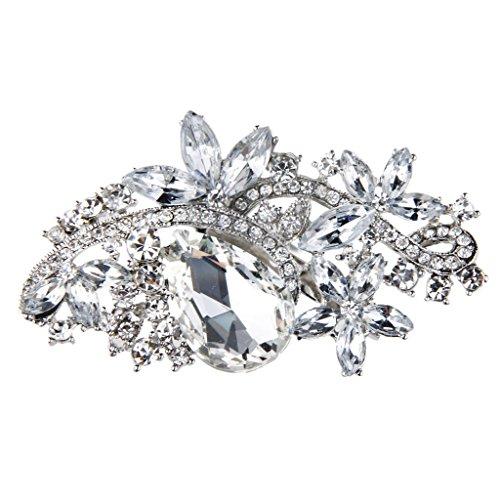 P Prettyia Große Braut Strass Kristall Rose Brosche mit Anstecknadel - Weiß