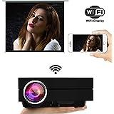 Uvistar Vidéoprojecteur GM60A WiFi Projecteur Mini Projecteur LED 800 * 480 Projecteur de 1000 Lumens Multimédia pour Jeux Vidéo, TV, Movie Cinéma Privé à Domicile Support USB/AV/SD/VGA/HDMI