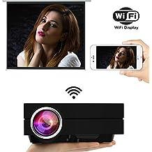 Uvistar Proiettore multimediale GM60/GM60A Wi-Fi LED 800x 480,1.000lumen, per videogiochi, TV, home cinema, supporto USB/AV/SD/VGA/HDMI GM60A-NOIR
