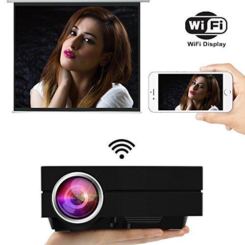 uvistar gm60a Beamer WiFi Projektor Mini Beamer LED 800* 480Projektor von 1000Lumen Multimedia für Spiele Video, TV, Movie Kino Private zu Hause Halterung USB/AV/SD/VGA/HDMI (Zoll Smart 100 Tv)