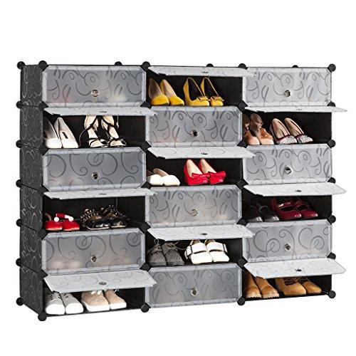 Langria 18 cubo scarpiera armadio guardaroba scapiera a cubo scaffale mobiletto modulare modello riccio in bianco e nero