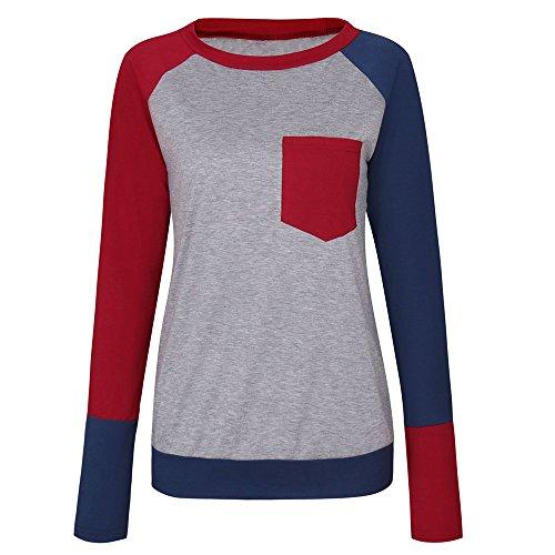 Bonboho Femme Casual Manches Longues Patchwork Blouse T Shirt Tunique Tops Hauts Bordeaux