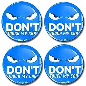 Skino 4 x 60mm Aufkleber 3D Gel Silikon Autoaufkleber Stickers Don't Touch My car Felgenaufkleber Für Radkappen Nabenkappen Radnabendeckel Rad-Aufkleber Nabendeckel Auto Tuning Andere Größe A 4460