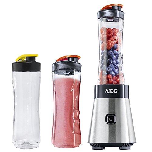 AEG PerfectMix SB 2500 Mini Mixer mit 0,4 PS-Power-Motor & 2 extra 0,6 Liter Tritan-Trinkflaschen