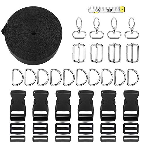 51bAO9DdLgL. SS500  - Yotako 50 Pcs 1 Inch 5 Yards Nylon Webbing Strap with Flat Side Release Buckles Tri-Glide Sildes D Rings and Suivel Snap Hooks 1pc Tape Measure for DIY Luggage Straps,Pet Collar,Belt Handles