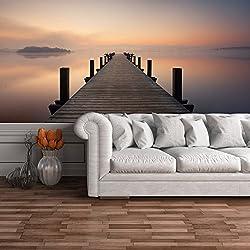azutura Misty Ocean Pier Wandbild Seelandschaft Foto-Tapete Schlafzimmer Badezimmer Wohnkultur Erhältlich in 8 Größen Riesig Digital