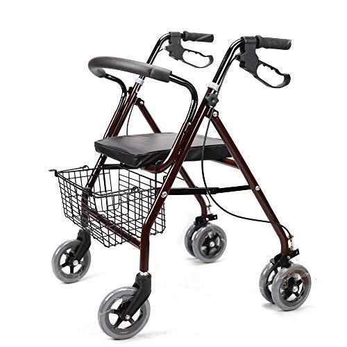 YiWon Rollator Gehhilfe für Senioren von 4 Laufradsatz Inkl Korb Gewicht Max 120 Kg/Rollator Faltbar Gehwagen Gehhilfe Standardrollator Laufhilfe Leichtgewicht