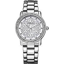 Moda Pulseras Reloj de Vestir Flores Talladas Correa de Aleación Cuarzo Relojes de Pulsera Para Mujeres Niña, Plateado