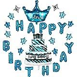 Luftballons Happy Birthday Party Dekoration, YONIDA Kinder Folienballon Party Zubehör Set für Jungen Blau