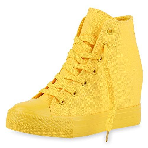 SCARPE VITA Damen Sneakers Keilabsatz Sneaker-Wedges Trendfarben Stoffschuhe 165502 Gelb 37 (Kostüm Sneaker Heels)