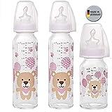 NIP Glas Flasche Girl // 3er Set // Glas-Babyflasche // 2 x Standardglasflasche 250 ml Trinksauger Gr. M // 1 x Standardglasflasche 125ml Trinksauger Gr. S //