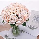 Pauwer 2pcs / 18 Fleurs Artificielles de Tête Bouquet de Rose, Faux Soie Floral Rose Fleurs pour DIY Accueil Nuptiale Fête De Mariage Festival Bar Décoration Jardin,Poudre de pêche