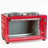 Oursson Mini-Elektroherd mit Umluft und 2-Brenner, automatische katalytische Reinigung, 30 Liter, 1500 W, 12 Kochkombinationen, Rot, MO3030 / RD