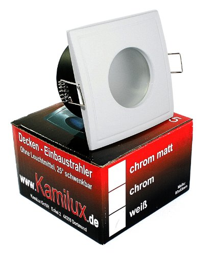 230V Aqua Square 5 Watt = 50W COB Power LED Feuchtraumstrahler in WEISS, IP65, Bad, Badezimmerleuchte, OUT65 OUT, eckig, quadratisch, inkl. Hochvolt GU10 HV LED Leuchtmittel
