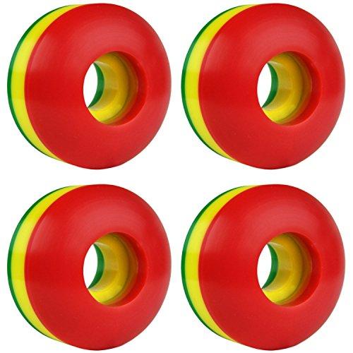 KSS Skateboard Wheel Set, Rasta Tri Color