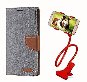 Aart Fancy Wallet Dairy Jeans Flip Case Cover for Asuszen-5 (Grey) + 360 Rotating Bed Moblie Phone Holder Universal Car Holder Stand Lazy Bed Desktop by Aart store.