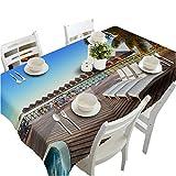 HUANZI Tischdecke Tischtuch 3D Holz Gestreiften Meerblick Staub Und Umweltschutz, Blue, 90cm*120cm