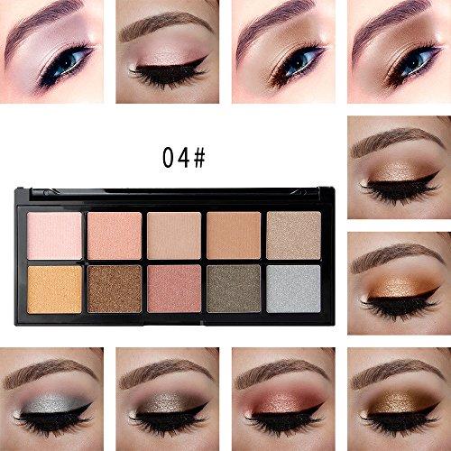 Palette de Fard à Paupière,LEEDY Fard à PaupièRes Mat CosméTique CrèMe Palette De Maquillage Shimmer Set 10 Couleurs