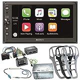 Sony XAV-AX100 2-DIN Autoradio mit Bluetooth Freisprecheinrichtung Android Auto Apple CarPlay USB MP3 Einbauset für Opel Astra J, Farbe der Radioblende:Platin-Silber