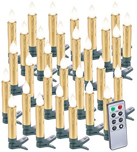Lunartec Christbaumbeleuchtung: 30er-Set LED-Weihnachtsbaumkerzen mit Fernbedienung und Timer, Gold (Weihnachtsbaumkerzen kabellos)