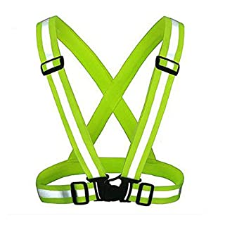 KING DO WAY Adjustable Reflective Running Gear Safety Vest Waist Belt Stripes Jacket High Visibility for Outdoor Jogging, Cycling, Walking, Motorcycle Riding and Running (Green)