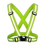 KING DO WAY Sichere Weste Reflektierender Körpergurt Laufen Reflektor Einstellbar Fahrrad Warnweste Spazieren Sports für Jogging Laufen Radfahrer (Grün)