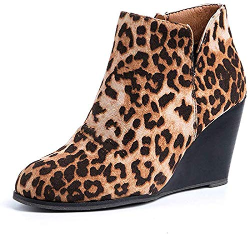 Botas cuña Mujer Casual Tobillo Ankle Boots Piel Medio Tacon Ancho Ante Botines Moda Leopardo Botines