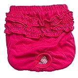 Weibliche Haustier Hund Schlüpfer Physiologische sanitäre Hosen Waschbare Hygiene Windel Unterwäsche für Haustier weiblich (S, Rot)