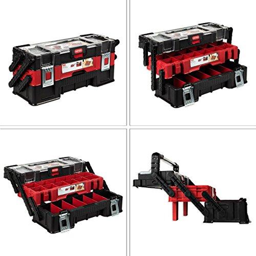 Keter Werkstattkoffer Technikerkoffer 3 etagiger Koffer Servicekoffer mit Unterteilungen
